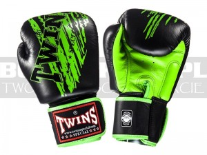 Rękawice Muay-Thai TWINS FBGV-TW2 - Black-Green