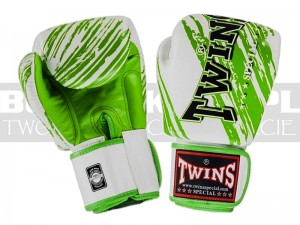 Rękawice Muay-Thai TWINS FBGV-TW3 - White-Green