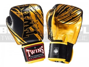 Rękawice Muay-Thai TWINS FBGV-TW3 - Black-Gold
