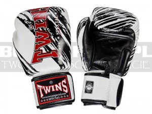 Rękawice Muay-Thai TWINS FBGV-TW2BK - White-Black