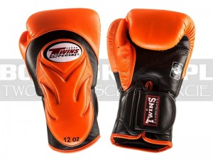 Rękawice Muay-Thai TWINS BGVL-6 - Orange-Black Palm