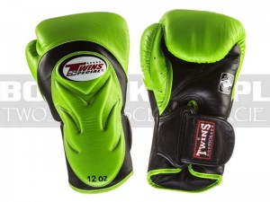 Rękawice Muay-Thai TWINS BGVL-6 - Green-Black Palm