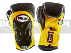 Rękawice Muay-Thai TWINS BGVL-6 - Black-Yellow Palm