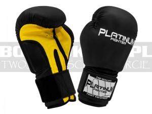 Rękawice Bokserskie Platinum Fighter SPARTAKUS - Black-Yellow