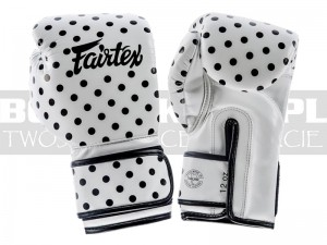 Rękawice bokserskie Fairtex BGV14 Polka Dot - White-Black