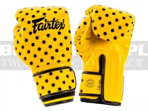Rękawice bokserskie Fairtex BGV14 Polka Dot - Yellow-Black