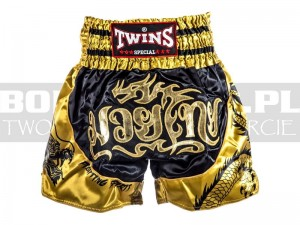 Muay-Thai - Spodenki tajskie TWINS Fighting Spirit - balck-gold