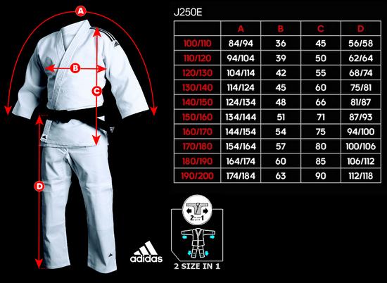 Adidas Evolution II J250E Tabela size