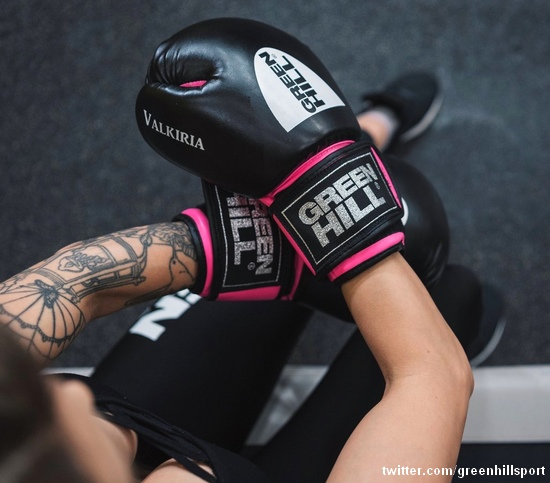 Green Hill Valkiria boxing gloves for woman black-pink
